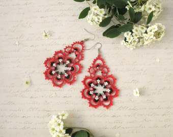 Lovely Red earrings Adorable bridesmaid earrings Summer outdoors Tatted lace jewelry Romantic gift Wedding earrings Boho chic summer party
