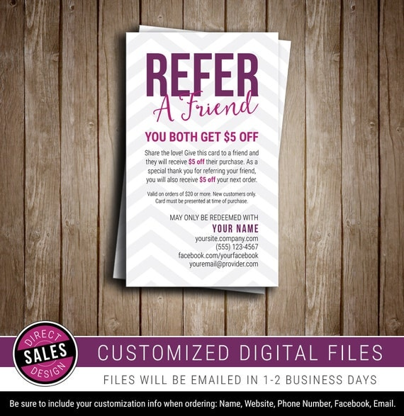 Refer a friend referral card direct sales business card for Refer a friend email template