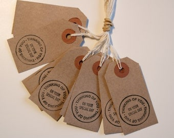 Pack of 10 Hand Stamped Gift Tags, Labels, For Presents, Birthdays.