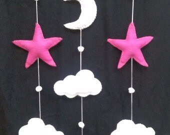 Mobile fish, clouds, stars and moon fabric and felt with Driftwood