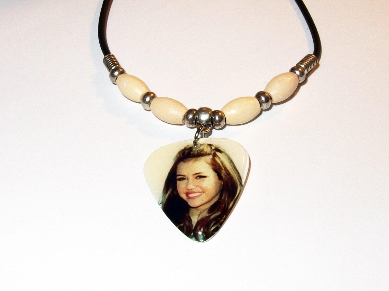 Miley Cyrus Photo Guitar Pick Necklace