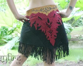 BLACK LEATHER SKIRT - Pocket Skirt, Festival Skirt, Hippie Skirt, Boho Skirt, Psytrance Skirt, Lace Skirt, Psytrance Skirt, Gypsy Skirt, Psy