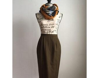 Vintage Midi Skirt, Olive-Brown Midi Skirt, Midi Skirt