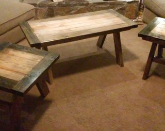 Coffee Table and end tables, Rustic Solid Wood, Coffee Table Set, End Tables, Living Room Tables,
