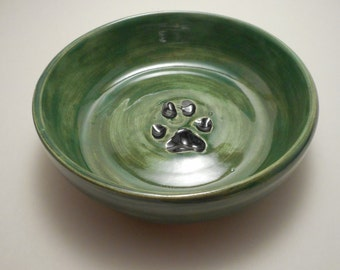 Green Ceramic Dog Bowl with Small Paw Print, Handmade Pottery, Hand Thrown, Hand Painted (B0091)