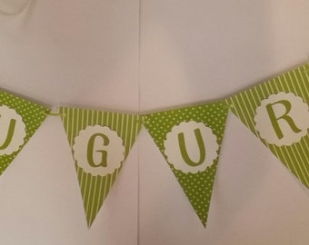 Swag to flag with written Wishes cardstock polka dots & stripes base + circle with letter overlay and Ribbon 4 m