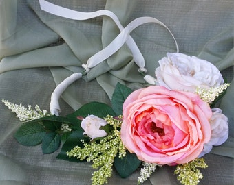 Blush Pink and Ivory Floral Headband with Ribbon Ties