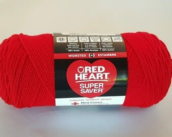 Red Heart Super Saver CHERRY RED Yarn 7 oz Worsted Weight 4