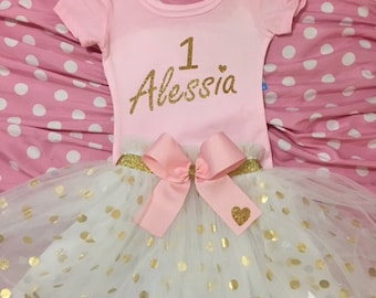 Pink and Gold Birthday Tutu, Birthday Girl Tutu, Dots and Pink Tutu, Birthday Outfit, Custom Made Outfit, Birthday Girl Pink Tutu, Gold Tutu