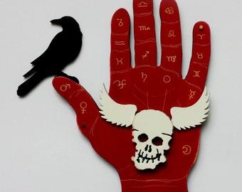 Palmistry Raven Art red hand with zodiac palmistry symbols and winged skull - mixed media original art