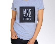 Zac Efron T Shirt - White and Gray - S M L