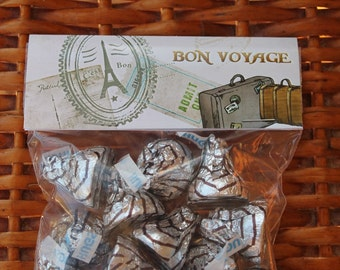 Bon Voyage Wedding Favors and Custom, Personalized Treat Bag Toppers for the Traveler, Bridal Shower Party Favors, Our Journey - 40 each