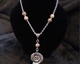 Natural Fossil Crinoid & Silver Fossil Ammonite Necklace