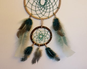 Teal and Brown Double Dream Catcher