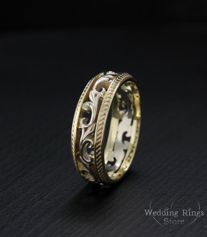 Filigree Ring Bands: Vintage Style Wedding Band Filigree Wedding Ring Nature