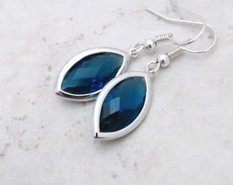 Sapphire blue crystal earrings, dark blue crystal earrings, blue crystal drops, marquise, silver dangle earrings, blue crystal jewelry gift