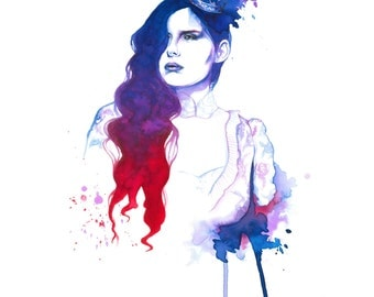 Your Majesty II - Watercolor Fashion Illustration by Daniel Paige (Print)