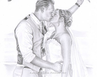 A5 Custom Detailed Pencil Portrait Commission - Drawing from Photographs - Child Baby Family Pet Vehicle Building Wedding - by Karena Higton