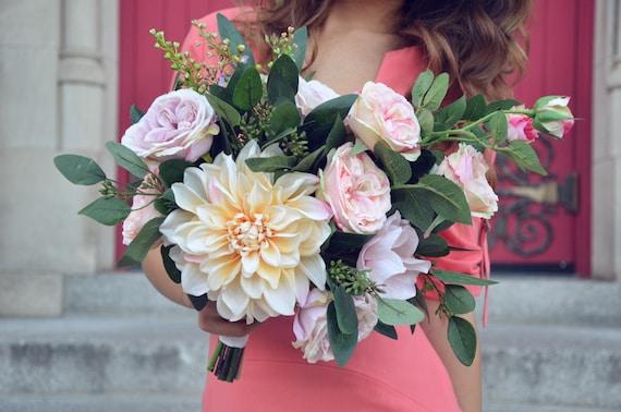 Blush Wedding Bouquet Rose Bridal Bouquet Dahlia Wedding