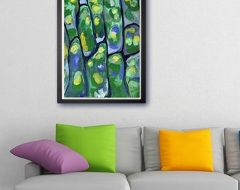 Original acrylic painting, Wall art, Modern Art, Abstract art, Microscope, Moss, Cells, Plant painting, Vibrant colors, Green, Contrast