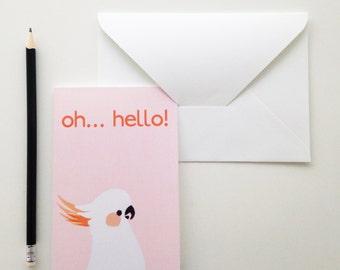 Oh... Hello! Cockatoo Notecard