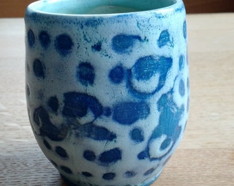 Hand thrown blue and celadon tea cup