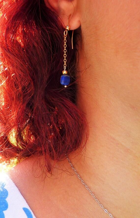 Lapis lazuli earrings - yellow gold * (gold filled) square shape