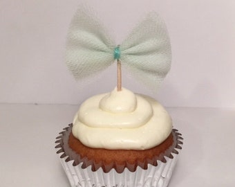 Mint bow cupcake toppers - set of 12
