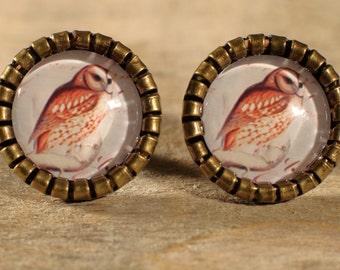 Glass cabochons! Earrings! Vintage look!