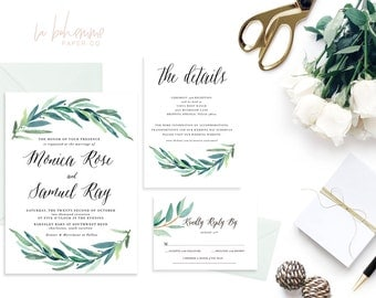 Printable Wedding Invitation Suite / Wedding Invite Set - The Monica Rose Suite