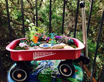 Little Red Wagon Fairy Garden