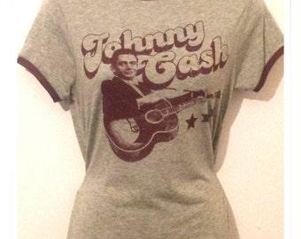 Johnny Cash Grey Womens T-Shirt Sizes 8-18