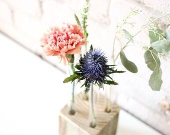 soliflore tube essai rustique rcupr vase bois vase de fleurs industriel dcor industriel pice florale centre de table mariage - Decoration Tube A Essai Mariage