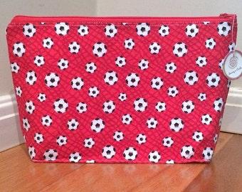 Red soccer toiletries bag
