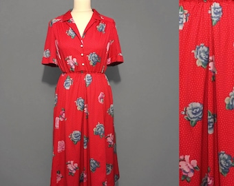1960s Red polka dot and floral dress