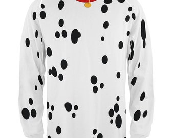 Halloween Dog Dalmatian Costume Red Collar All Over Adult Long Sleeve T-Shirt