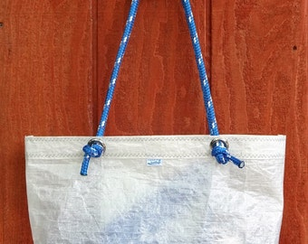 Sailcloth, Kevlar J24 Sailcloth, Tote Bag, Waxed Canvas Color Block, Blue Jib Sheet Straps