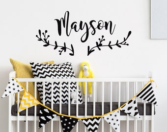 Personalized Name Decal- Rustic Wall Decal- Personalized Childrens Wall Decal- Nursery Wall Decal- Personalized Baby Kids Boho Decor #81