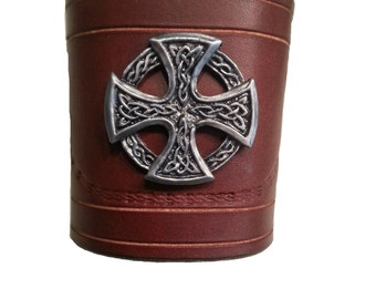 Brown Leather Bracelet Celtic cross with leather strap