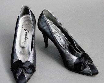 Vintage Silver silk bow tie heels