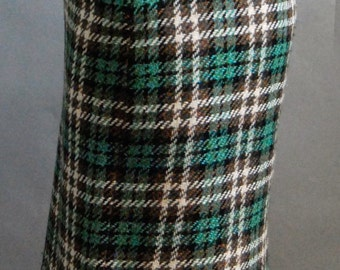 Vintage wool plaid knee length pencil skirt in green, white, and brown