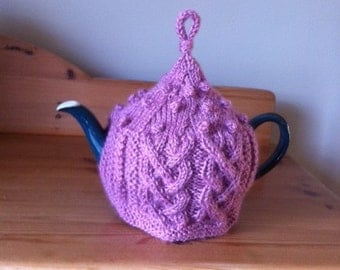 Pink Aran Knitted Tea Cosy