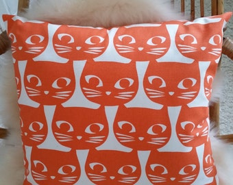 Orange and white grounds Scandinavian cushions covers cats