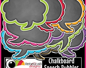 Chalkboard Speech Bubble Clip Art, Speech Bubbles, Chalkboard Clip Art, Speech Bubbles Clip Art, Printables