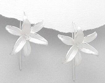 Sterling Silver Flower Earrings (Matt Effect)