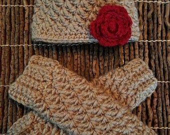 Baby Girl Rose-Embellished Hat with Matching Leg Warmers