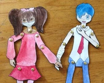Handmade Zombie Paperdolls - Set of Two