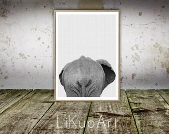 Elephant Print, Elephant Wall Print, Safari Nursery, African Animal Wall Print, African Animal Print, Elephant Nursery, White Gray Elephant