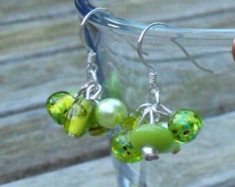 Lovely green beads earrings