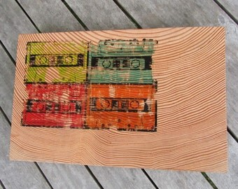 Cassette Tape Print on Wood - Retro Art